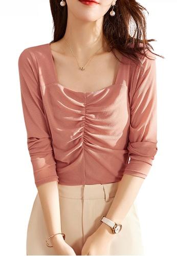 HAPPY FRIDAYS pink Feminine Gather Design Square Collar Blouse JW ZX-80279 1C26EAA0D83AAFGS_1