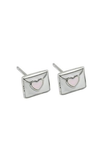 LYCKA silver LDR1263 S925 Silver Love Letter Stud Earrings 17006AC600AC0BGS_1