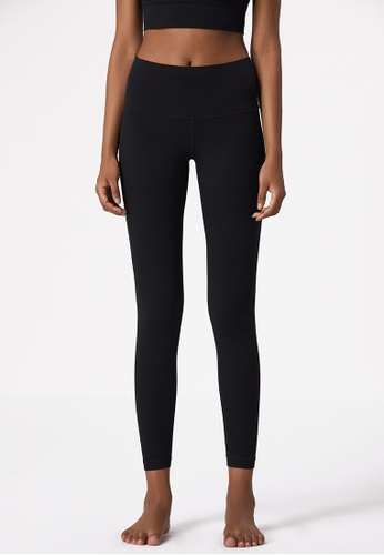 B-Code black ZUU3006-Lady Quick Drying Running Fitness Yoga Leggings-Black D525DAA8CC8FB7GS_1