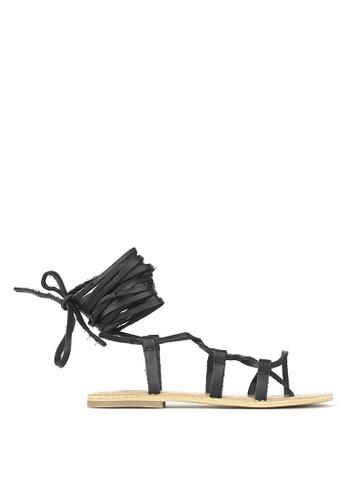 Betts black Charlie Leather Leg Wrap Sandals E9490SHAABECB2GS_1