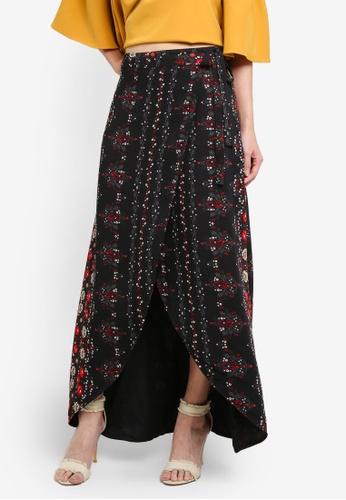 Something Borrowed black Printed Wrap Skirt 6F54BAA2CC699EGS_1
