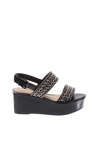 SCHUTZ 黑色 SCHUTZ 坡跟高跟涼鞋 - BERYL (黑色) A6E82SH02DD51FGS_1