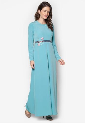 Safana 02 珠zalora 手錶 評價繡褶飾長洋裝, 服飾, 晚宴禮服