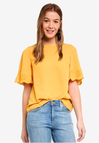 Dorothy Perkins orange and yellow Ochre Cutwork Angel Sleeve Tee BCA2DAA4BEE3FCGS_1