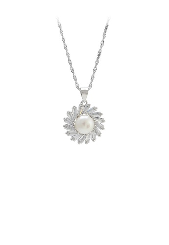 Glamorousky white 925 Sterling Silver Elegant Fashion Flower White Freshwater Pearl Pendant with Cubic Zirconia and Necklace 590BEAC69E2A8BGS_1
