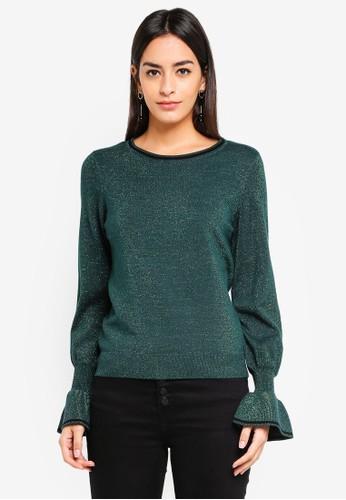 Vero Moda green Millen Cuff O Neck Sweater 906D3AA0EF70E1GS_1