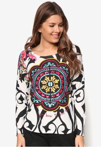 抽象印花針織長袖衫,esprit門市 服飾, 服飾