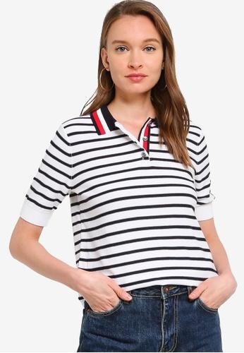 Tommy Hilfiger 白色 Stripe Polo Sweater BDDD8AAAA8A827GS_1