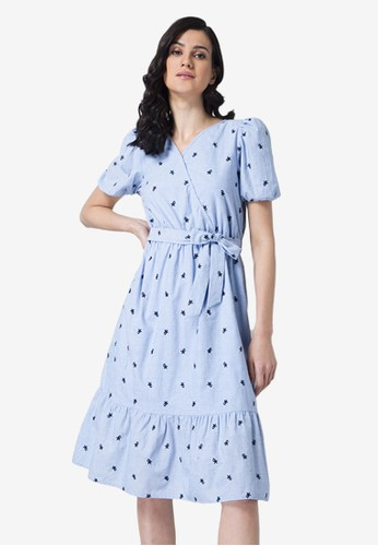 FabAlley blue Chambray Embroidered Belted Wrap Dress 49CC8AA2F13808GS_1