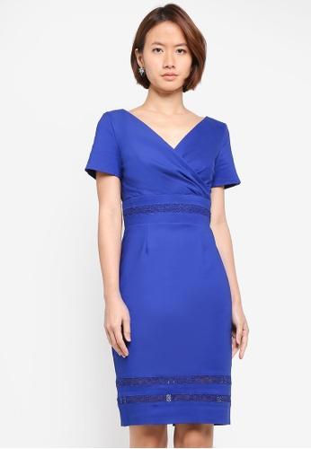 Paper Dolls blue Mock Wrap Front Lace Insert Dress 39238AAD5F42C0GS_1