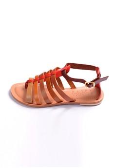 Manna Soles' Rebecca Red Vero Curso Leather Gladiator Sandals
