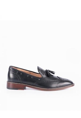 Bristol Shoes black Lennox Black Wingtip Loafers 1F227SHE32EB70GS_1