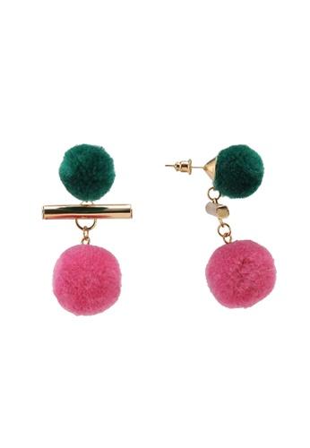 Red's Revenge green Twin Pom Pom Stud Earrings 20C31ACEBD33AFGS_1