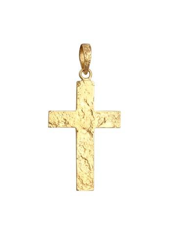 KUZZOI gold Perhiasan Pria Perak Asli - Silver Pendant Cross Massiv Gold Plated C1F53AC15012B4GS_1