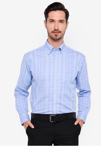 Sacoor Brothers blue Regular fit 120's double luxury cotton shirt ED585AA3558473GS_1