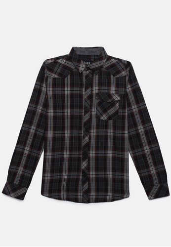 ZALZA grey Tapti 100% Organic Cotton Woven Boys Long Sleeve Shirt - Neutral Grey A62FFKABF5387BGS_1