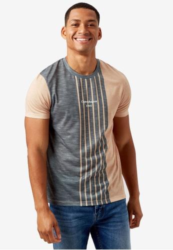 Burton Menswear London brown Vertical Stripe T-shirt D9A31AA736929AGS_1