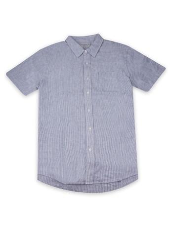 Giordano white and navy Linen Short Sleeve Men's Shirt DADE8AA9A99879GS_1