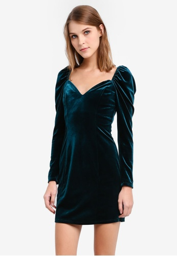 TOPSHOP green and blue Sweetheart Neck Velvet Bodycon Dress TO412AA0SIWJMY_1