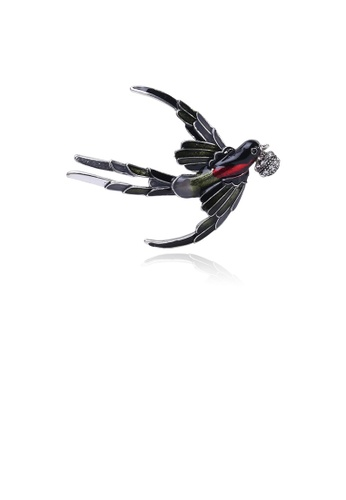 Glamorousky white Simple and Fashion Black Swallow Brooch with Cubic Zirconia FEAF3ACEA703DCGS_1