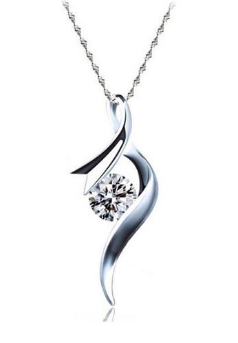 YOUNIQ silver YOUNIQ Ribbon 925 Sterling Silver Necklace Pendant with White Cubic Zirconia YO999AC66DBLMY_1