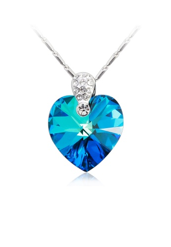 b50dab01b1ee6 OUXI Bermuda Blue Heart Necklace