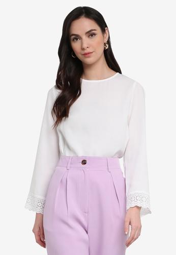 ZALORA WORK white Lace Cuff Blouse 522E8AAE03C8CDGS_1