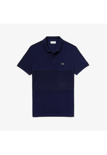 291400fa4a934 Lacoste blue Men's Lacoste MADE IN FRANCE Striped Cotton Petit Piqué Polo  Shirt - PH4226-