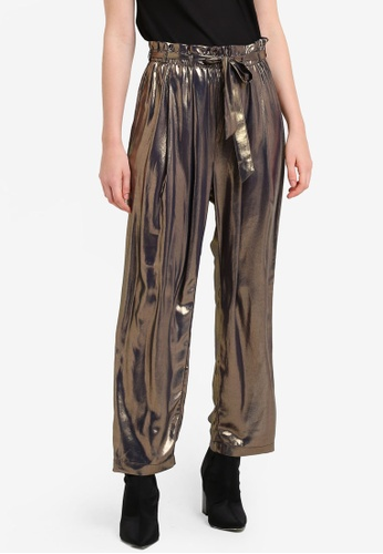 Free People gold Metallic Tie Waist Pants FR659AA0RH6JMY_1