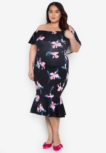 d6098a40f0f Ashley Collection Plus multi Plus Size Floral Off Shoulder Ruffle Hem Dress  3C46CAA2B6F3E7GS 1
