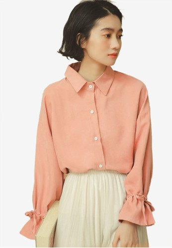 Shopsfashion pink Tie A Bow Sleeve Blouse 72556AAD057D76GS_1