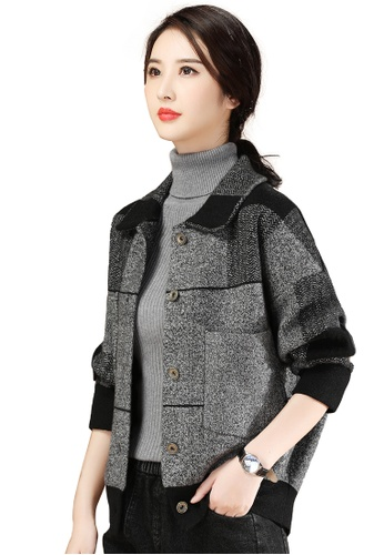 A-IN GIRLS black and grey Loose Check Woolen Coat BA943AA1E541E8GS_1