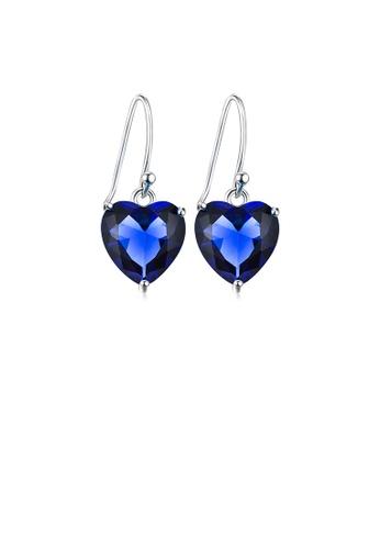 Glamorousky blue 925 Sterling Silver Simple Fashion Blue Heart-shaped Cubic Zirconia Earrings 6A04DAC94B772BGS_1