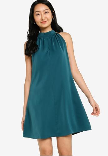 ZALORA BASICS green Halter Neck Swing Dress CACE8AA4206632GS_1