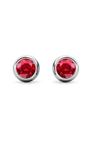 Her Jewellery red and silver Birth Stone Moon Earring July Ruby WG - Anting Crystal Swarovski by Her Jewellery B5A89ACE30E6F6GS_1