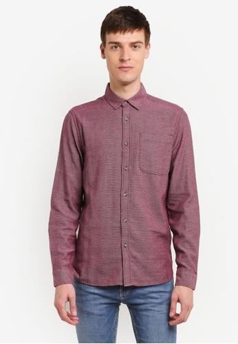 Topman 紅色 Burgundy Textured Shirt TO413AA0SHQQMY_1