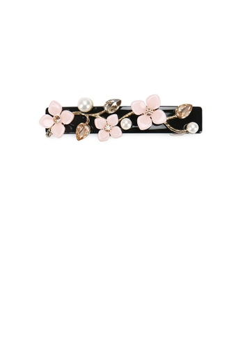 Glamorousky white Fashion Temperament Flower Imitation Pearl Black Hair Clip with Cubic Zirconia D5BDAACEE789F8GS_1
