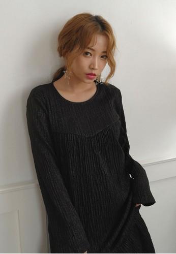 韓風esprit台灣網頁褶飾長袖連身裙, 服飾, 洋裝