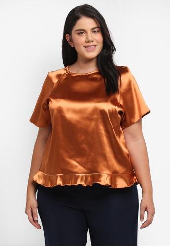 ELVI brown Plus Size Copper Frill Top EL779AA0T1PLMY_1