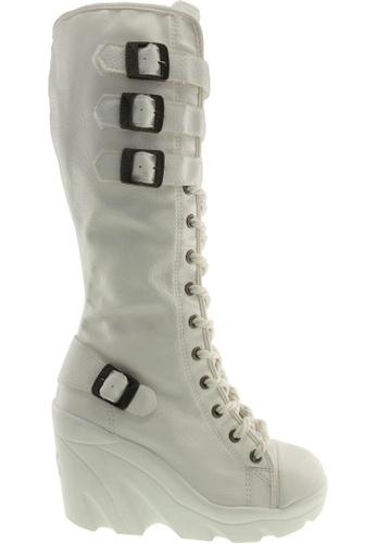 Maxstar white Maxstar Women's 4 Buckles Lace Up High Wedge Heel PU Long Boots US Women Size MA164SH85QRYSG_1