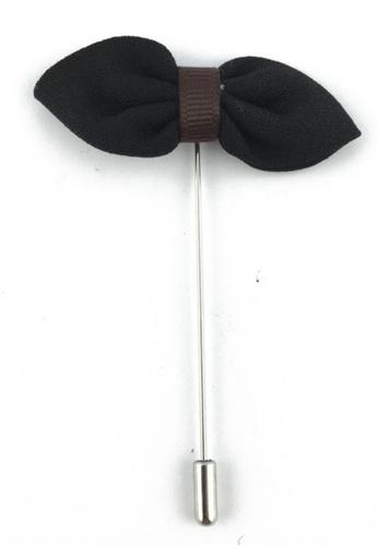 Splice Cufflinks silver Black Fabric Bow Lapel Pin SP744AC80FJFSG_1