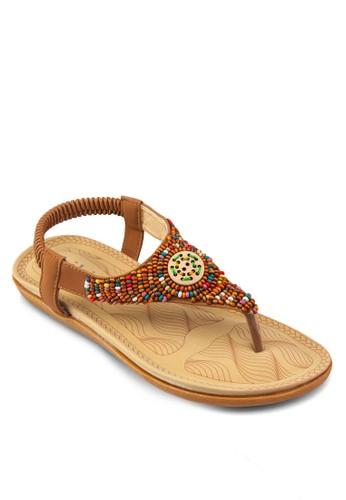 zalora 鞋評價彩色木珠夾腳涼鞋, 女鞋, 鞋