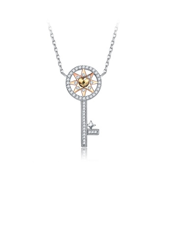 Glamorousky gold Fashion Elegant Heart Key Pendant with Austrian Element Crystal and Necklace CBCC4AC471D163GS_1
