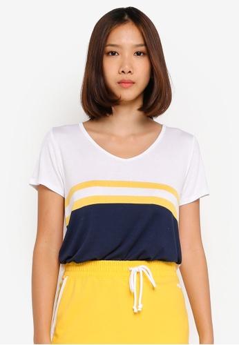 Hollister 海軍藍色 V領品牌刺繡T恤 E2B2CAAA5C4970GS_1
