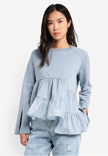 LOST INK blue Panelled Sweatshirt LO238AA0T1QHMY_1
