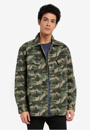 MANGO Man beige Camouflage Cotton Jacket 41F59AA423052AGS_1