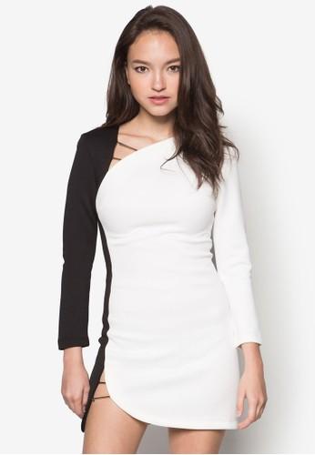 牌飾拼色zalora taiwan 時尚購物網長袖連身裙, 服飾, 洋裝