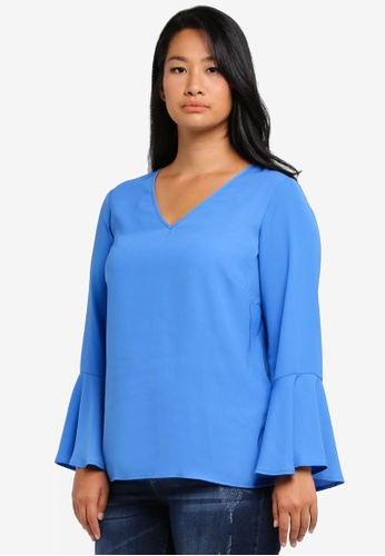 Junarose blue Plus Size Woven Long Sleeved Blouse JU731AA0SKPAMY_1