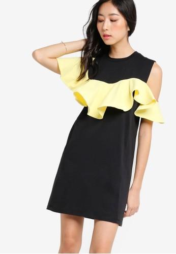 撞色荷葉層次無袖連身裙, 服飾zalora 心得 ptt, 洋裝