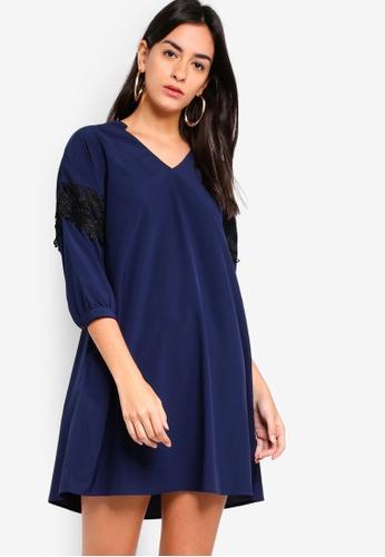 ZALORA navy Lace Trim Dress BE1E4AA9E660E9GS_1
